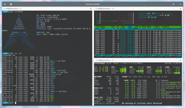 In Terminix lassen sich Terminalfenster aufteilen, per Drag&Drop lösen und umrangieren.
