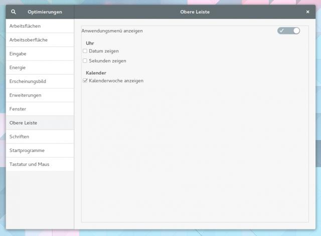 Die Anzeige der Kalenderwochen im Gnome-Shell-Kalender lässt sich auch mit dem Gnome Tweak Tool aktivieren.