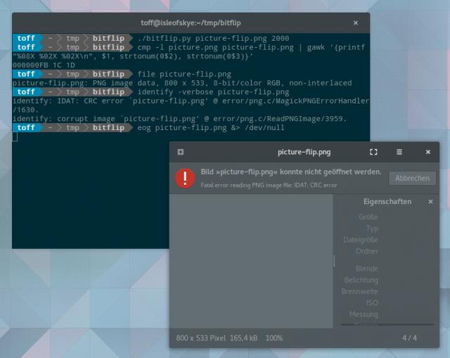 Ein gekipptes Bit reicht aus um eine PNG-Datei zu zerstören.