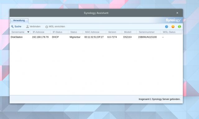 Der Synology Assistant meldet die frisch umgebaute Diskstation im Netz.