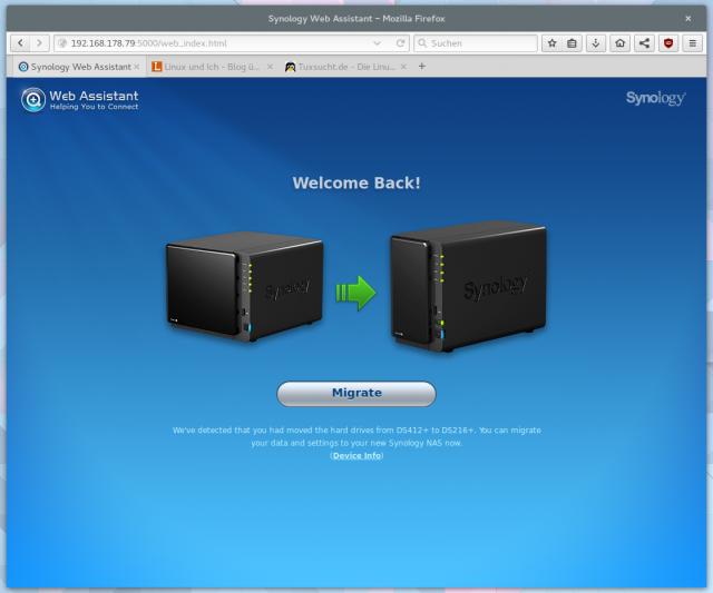 Alternativ könnt ihr die Diskstation auch direkt über das Webfrontend aktualisieren.