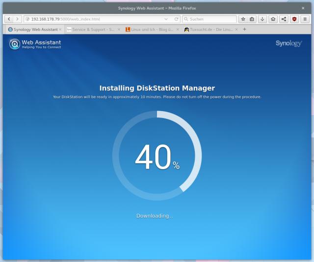 Die Installation der neuen Firmware nimmt etwa 15 Minuten in Anspruch.