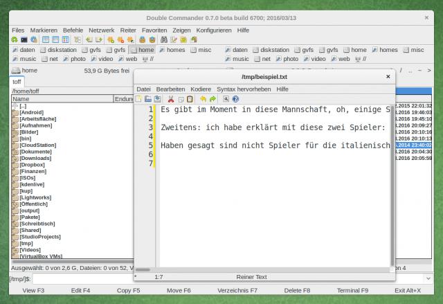 Der Double Commander bringt auch einen, wenn auch sehr beschnittenen Dateieditor, mit.