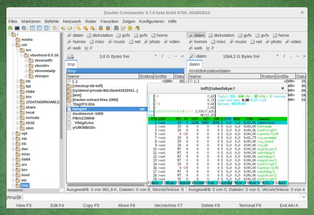 Die mit der Version 0.7 neue Baumansicht mit dem Double-Commander-Terminal.