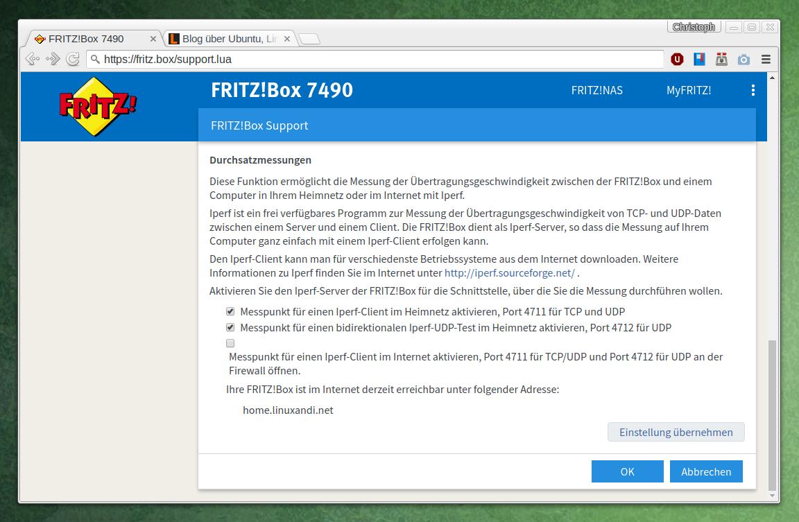 Netzwerk-Performance mit in Fritzbox integriertem Iperf