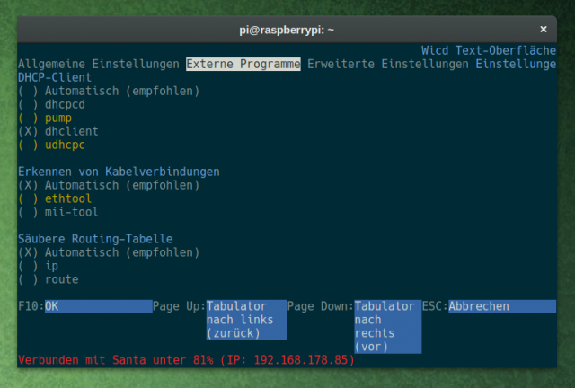 In den Einstellungen von wicd-curses müsst ihr den DHCP-Client anpassen.