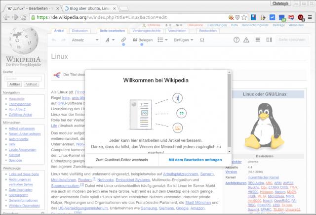 Die Wikipedia bietet nun einen grafischen Editor.
