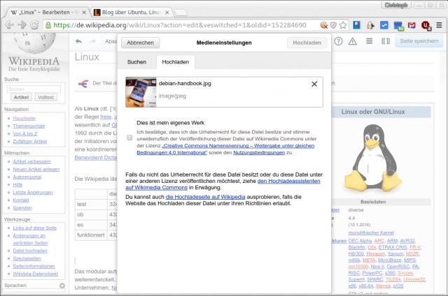 Bilder lassen sich per Drag&Drop in die Wikipedia einfügen.