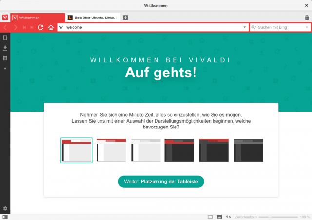 Vivaldi erlaubt unterschiedliche Layouts für das Browserfenster.