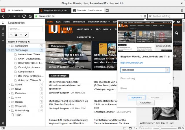 Bookmarks und Downloads zeigt Vivaldi in der Seitenleiste an.