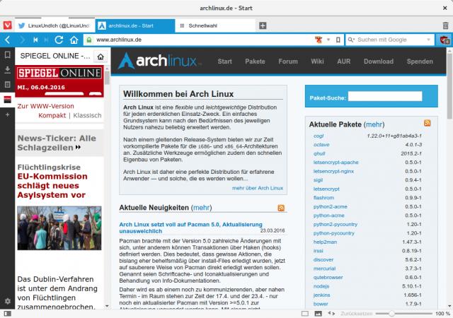 Mit Web-Paneelen lassen sich etwa News-Seiten in der Seitenleiste öffnen.
