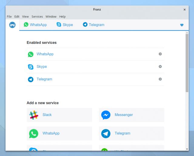 Franz unterstützt neben WhatsApp noch Skype, Telegram, Facebook Messenger und andere Instant Messenger.