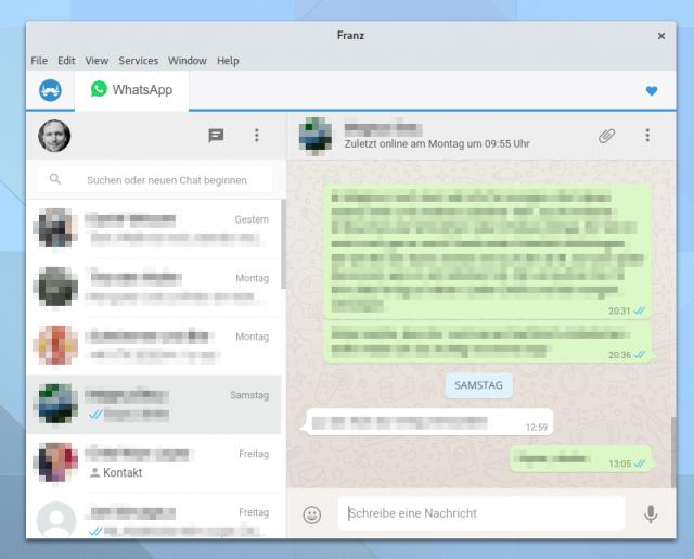 """Wie der """"offizielle"""" WhatsApp-Client für den PC stellt auch Franz nur die Webseite als WebView dar."""