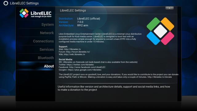 LibreELEC 7.0.0 entspricht in weiten Teilen noch OpenELEC.
