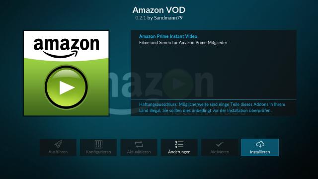 Das Amazon Prime Instant Video Addon von Sandmann installieren.