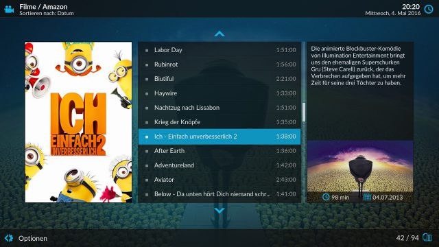 Mit dem Amazon Prime Instant Video Addon lässt sich das Amazon-Angebot bequem durchstöbern.