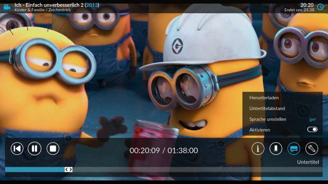 Wie mit einem Fire TV lassen sich Untertitel und unterschiedliche Audiospuren auswählen.