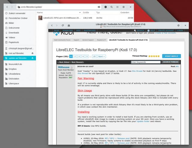Für die Milhouse-Testbuilds muss die LibreELEC-Installation aktualisiert werden.