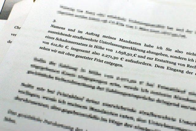 Zusammen mit den Anwaltsgebühren summieren sich die Forderungen auf über 2000 Euro.