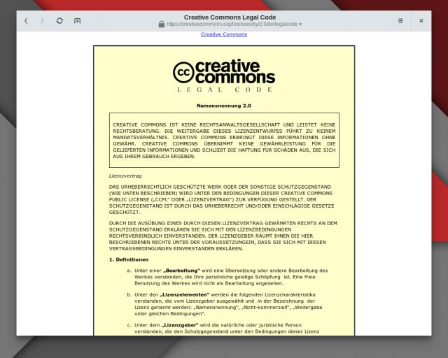 Die eigentlich bindende Creative-Commons-Lizenz steckt im Lizenztext.