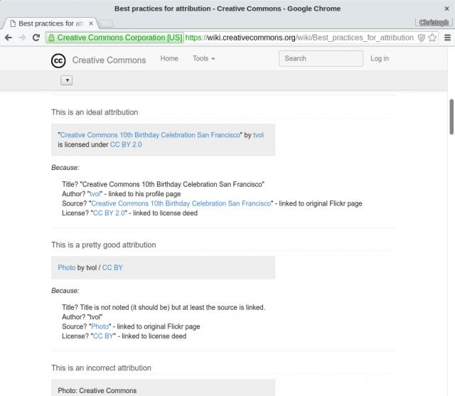 Selbst das Creative-Commons-Wiki empfiehlt eine riskante Attribution des Werks.