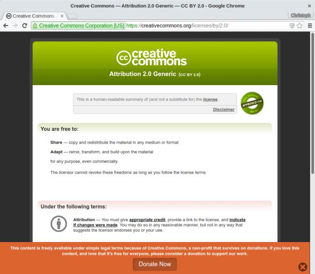 """Die """"human-readable"""" Darstellung der Creative Commons BY-SA 2.0. Der eigentlich bindende """"Legalcode"""" ist in Juristen-Englisch/Deutsch gehalten."""