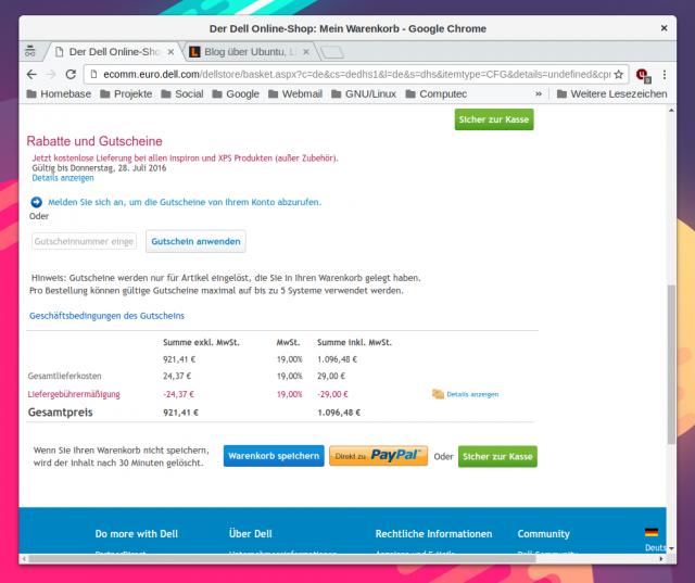 Dadurch sinkt der Verkaufspreis der Developer Edition des Dell XPS 13 mit Ubuntu auf knapp unter 1100 Euro.