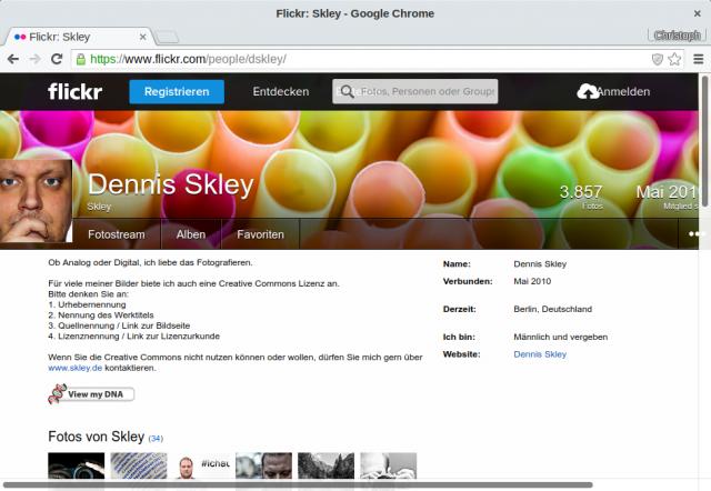 """Im Flickr-Profil von Skley steht jedoch, dass eine """"Quellnennung / Link zur Bildseite"""" erfolgen muss."""