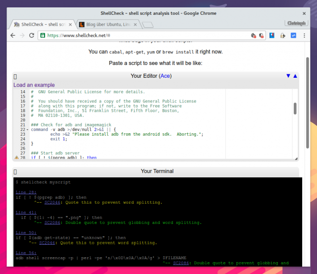 ShellCheck hilft beim Schreiben sauberer Shell-Skripte ohne problematische Ausdrücke.