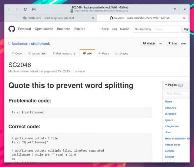 In der Webversion von ShellCheck lassen sich Hinweise zu den problematischen Stellen aufrufen.
