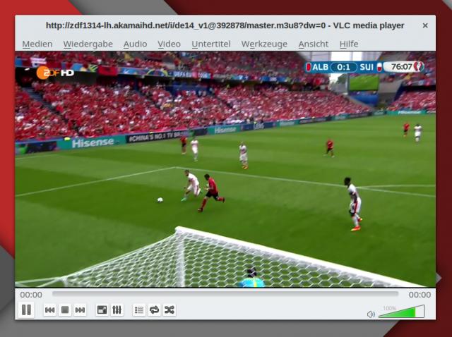 Der Live-Stream des ZDF in VLC.