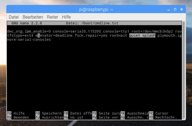 Der Splashscreen lässt sich bei Bedarf über die /boot/cmdline.txt deaktivieren.