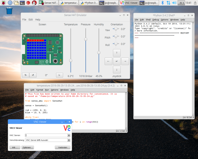 Mit dem Sense HAT Emulator lässt sich das Programmieren üben, ohne die Hardware zu besitzen.