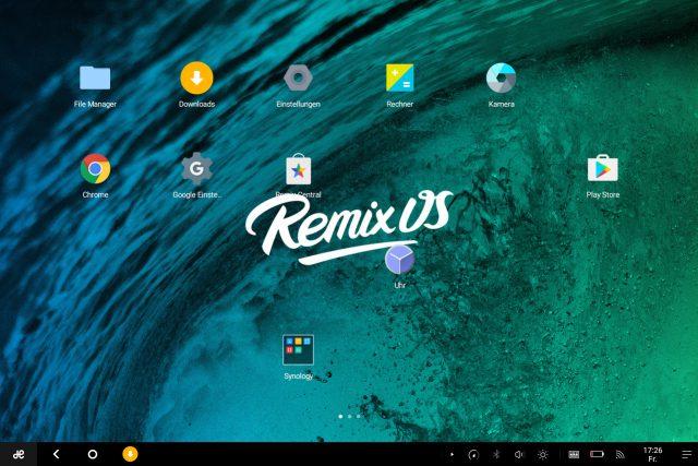 Der Desktop von Remix OS mit dem Startbutton und Taskleiste.