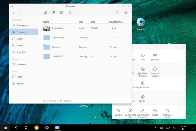 Anwendungen wie hier der Dateimanager und die Einstellungen öffnen sich in Fenstern.