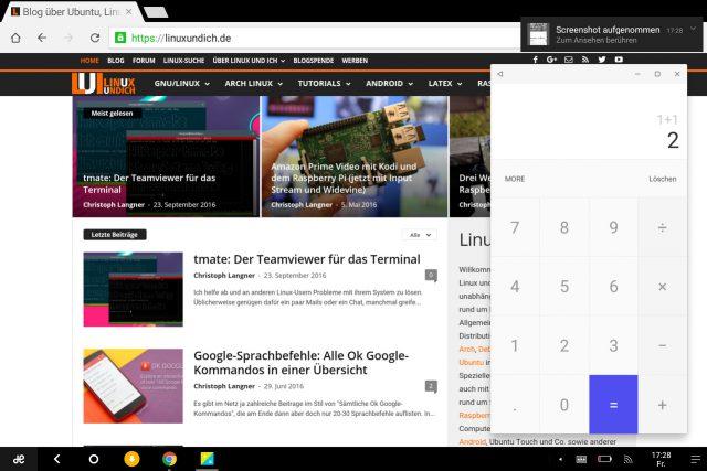 Die meisten Apps wie hier Chrome wollen allerdings nichts vom Fenstermodus von Remix OS wissen.