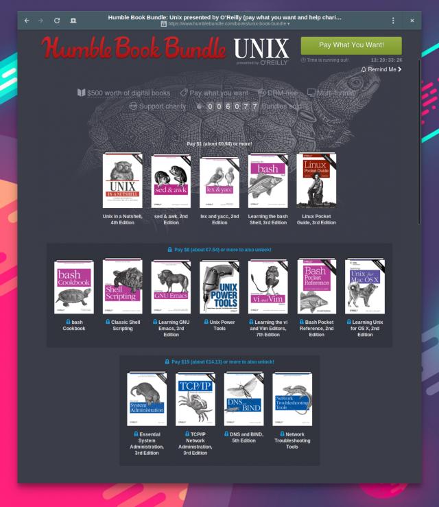 Über das Humble Book Bundle: Unix  bekommt ihr bis zu 16 Titel rund um Unix und Linux.