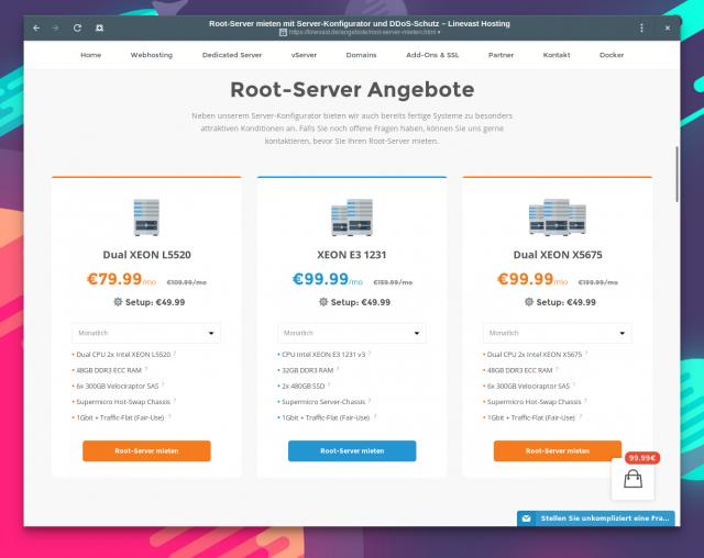 Das Angebot an Root-Server von Linevast.