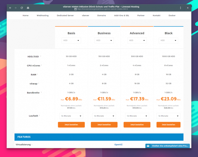 Vserver mit Linux bei Linevast ab 6,89 Euro/Monat.