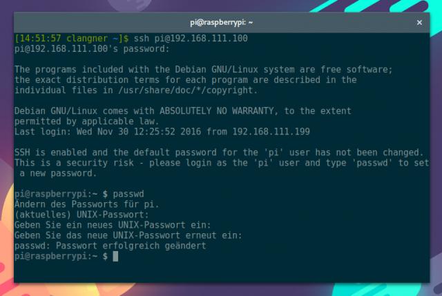 Ebenfalls neu in Raspbian: Das System bittet darum das Passwort für den Standardnutzer zu ändern.