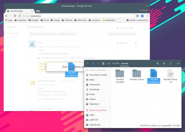 Das Flat-Plat-Theme für Chrome muss man manuell installieren.