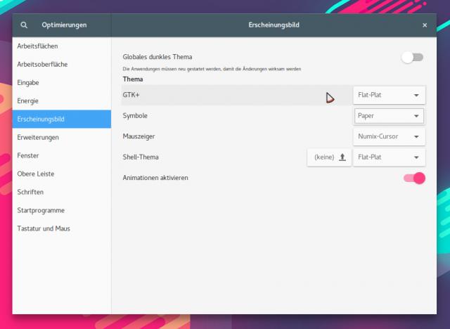 Flat-Plat als GTK-Theme für Gnome mit Paper als Icon-Theme.