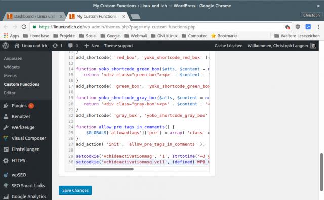 """Mit dem Plugin """"My Custom Functions"""" lassen sich sehr leicht eigene Funktionen in WordPress einbauen."""