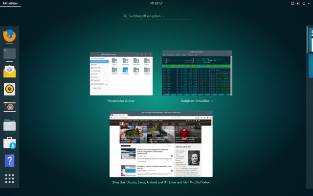 Die Aktivitätenübersicht der Gnome Shell von Ubuntu 16.10 mit Flat-Plat als Theme und den Paper-Icons.
